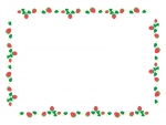 いちごのかわいい四角囲みフレーム飾り枠イラスト