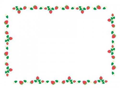 いちごのかわいい四角囲みフレーム飾り枠イラスト 無料イラスト