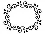 くるくるした蔦の白黒フレーム飾り枠イラスト