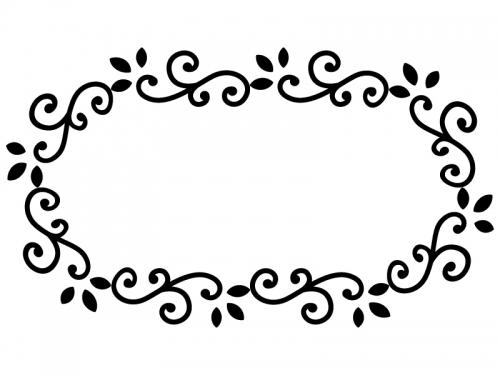 くるくるした蔦の白黒横長フレーム飾り枠イラスト