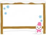 雪だるまと看板のフレーム飾り枠イラスト