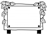 木の立て看板と葉っぱの白黒フレーム飾り枠イラスト02