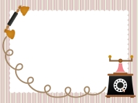 アンティーク風の電話のストライプフレーム飾り枠イラスト