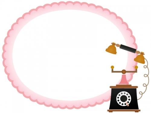 アンティーク風の電話のもこもこフレーム飾り枠イラスト
