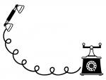 アンティーク風の電話の白黒フレーム飾り枠イラスト