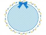 水色のリボンと花の楕円フレーム飾り枠イラスト