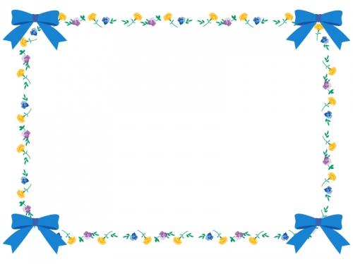 四隅の水色のリボンと花のフレーム飾り枠イラスト