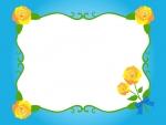 黄色いバラのエレガントな青色フレーム飾り枠イラスト