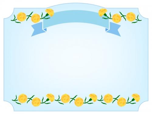 黄色いカーネーションと見出し付きフレーム飾り枠イラスト