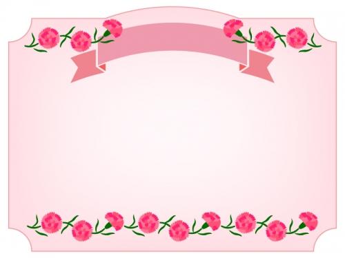 ピンクのカーネーションと見出し付きフレーム飾り枠イラスト