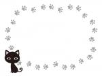 黒猫とグレーの肉球の白黒囲みフレーム飾り枠イラスト