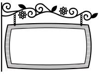 西洋風の看板の横長白黒フレーム飾り枠イラスト