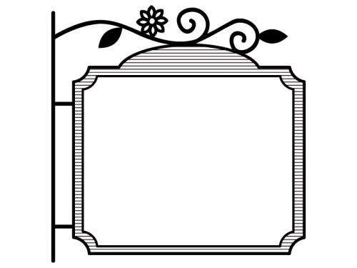 西洋風の看板の白黒フレーム飾り枠イラスト