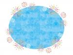 花火と水色楕円のフレーム飾り枠イラスト