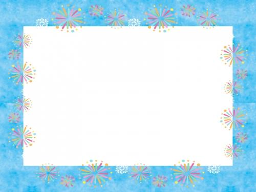 花火と水色四角のフレーム飾り枠イラスト