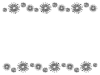 花火の上下白黒フレーム飾り枠イラスト