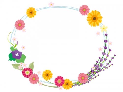 夏の花のリースのフレーム飾り枠イラスト 無料イラスト かわいいフリー