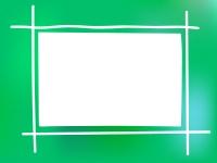 ふんわりとしたグリーン系のフレーム飾り枠イラスト