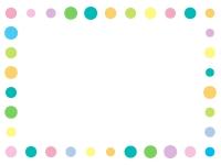 パステルカラーの丸の囲みフレーム飾り枠イラスト