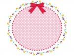ピンクのリボンと花の楕円フレーム飾り枠イラスト