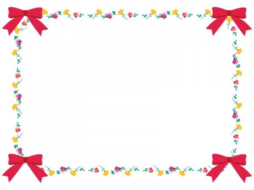 四隅のピンクのリボンと花のフレーム飾り枠イラスト