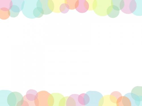 ふんわり水玉模様の上下フレーム飾り枠イラスト