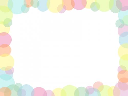 ふんわり水玉模様の四角フレーム飾り枠イラスト