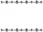 プレゼント箱の上下白黒フレーム飾り枠イラスト