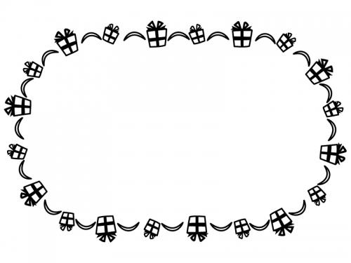 プレゼント箱の白黒囲みフレーム飾り枠イラスト