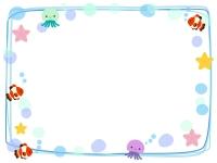 かわいい海の生き物の手書き風四角フレーム飾り枠イラスト