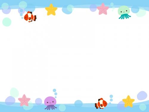 かわいい海の生き物の上下フレーム飾り枠イラスト 無料イラスト