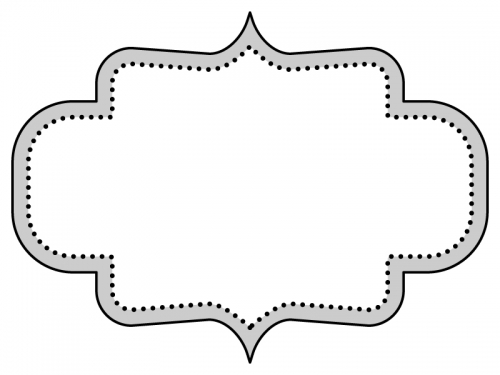白黒のラベル風デザイン飾り枠フレームイラスト03
