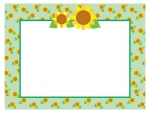 ひまわり模様の緑色フレーム飾り枠イラスト