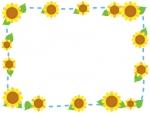 ひまわりと水色点線の囲みフレーム飾り枠イラスト