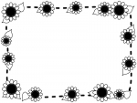 ひまわりと点線の白黒囲みフレーム飾り枠イラスト