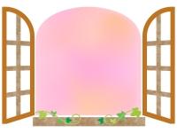 洋風のピンクの窓のフレーム飾り枠イラスト