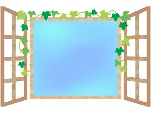 洋風の水色の窓のフレーム飾り枠イラスト