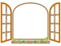 洋風の窓のフレーム飾り枠イラスト