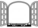 洋風の窓の白黒フレーム飾り枠イラスト