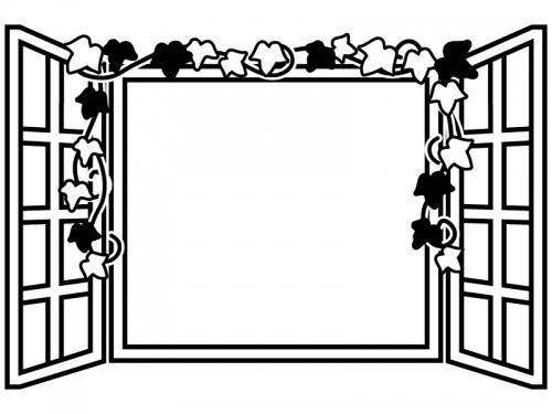 洋風の窓の白黒フレーム飾り枠イラスト02