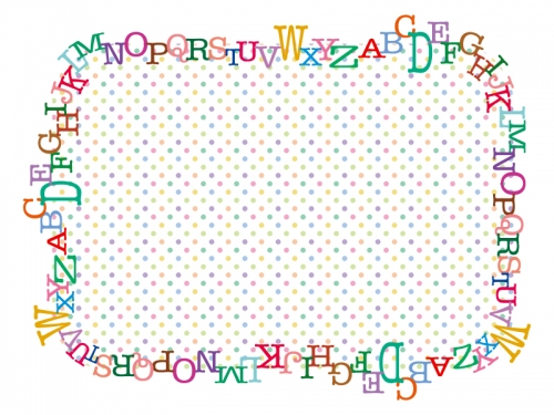 カラフルなアルファベットと水玉模様のフレーム飾り枠イラスト