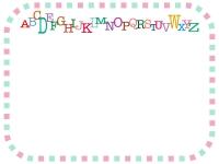 カラフルなアルファベットと四角い緑とピンクのフレーム飾り枠イラスト