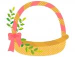 ピンク色リボンのカゴのフレーム飾り枠イラスト