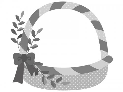 白黒モノトーンのカゴのフレーム飾り枠イラスト