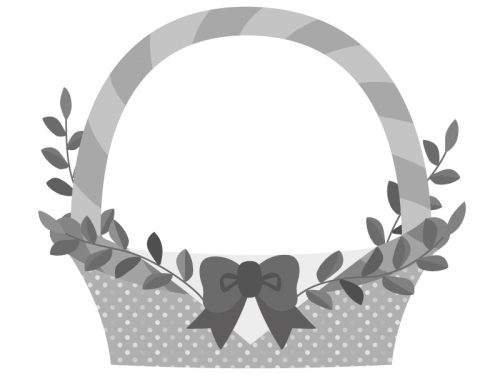 白黒モノトーンのカゴのフレーム飾り枠イラスト02