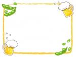 ビールと枝豆のオレンジ色筆線のフレーム飾り枠イラスト