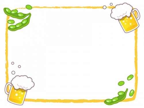 ビールと枝豆のオレンジ色筆線のフレーム飾り枠イラスト 無料イラスト