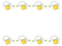 ビールと枝豆の上下フレーム飾り枠イラスト