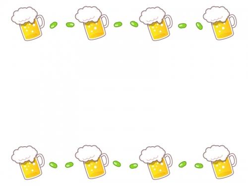 ビールと枝豆の上下フレーム飾り枠イラスト 無料イラスト かわいい