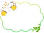 ビールと枝豆のもこもこフレーム飾り枠イラスト